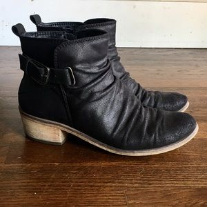 Faux leather Buckle Ankle boots